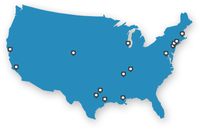 Map of USA showing EP locations